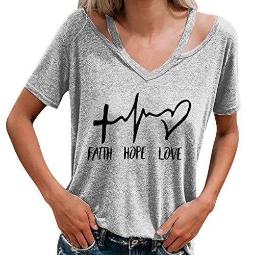 - Shusuen Faith Hope Love T Shirts Women Cute Graphic Blessed Shirt Funny Inspirational Tees Tops Gray