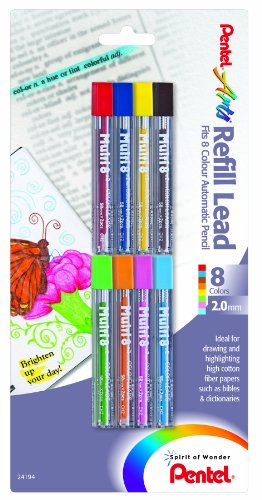 Pentel Arts 8 Colour Refill Lead, Assorted Colors, 8 Pack (CH2BP8M) (Pentel Pencil Colored)