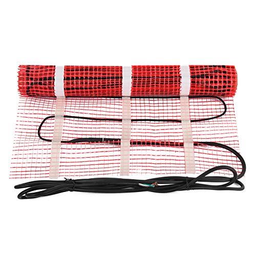 Happybuy 10 Sqft 120V Electric Radiant Floor Heating Mat Self-Adhesive Mesh Floor Heat Mat Underfloor Tiles Home Commercial Radiant Floor Warming Systems Mats (10sqft)