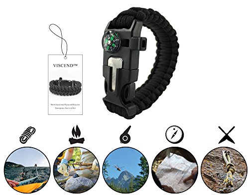 VISCEND-Paracord-Bracelet-Survival-Kit-2-PACK-Multifunctional-with-Magnesium-Fire-Starter-and-Compass-for-Outdoor-Hiking-Camping-and-ActivityBlack
