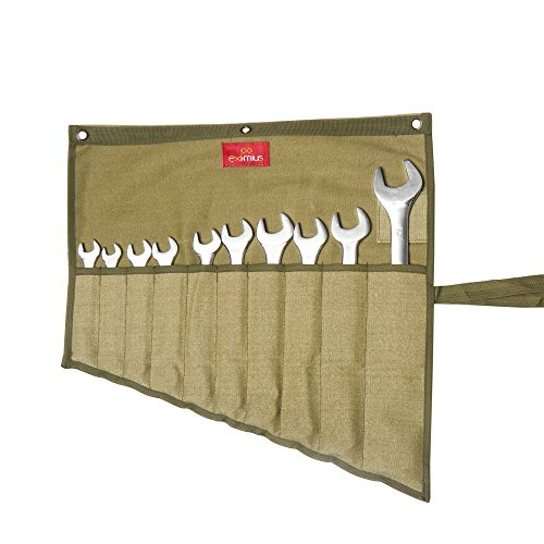 10 Olive Drab (Eximius Ex 0104 Wrench/Tool Roll 10 Pockets of 100% Dyed and sand Washed Olive Drab 15 Oz Cotton Canvas)