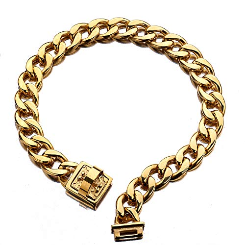 - Abaxaca 19 mm Dog Collar 18K Gold Heavy Duty Stainless Steel Dog Luxury Training Collar Cuban Link with Durable Clasp Necklace Chain (18 inch(for 15.6