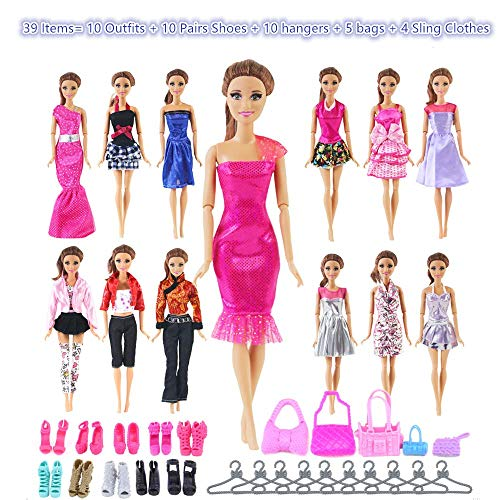 UCanaan 39Pcs Doll Clothes and Accessories for 11.5'' Barbie Dolls (Includes 10 Set Random Pattern Casual Fashion Dresses + 10 Pairs Shoes + 10 Hangers + 5 Pcs of Bags + 4 Sling Clothes)]()