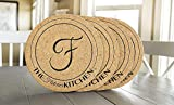 Personalized by Name Large Cork Trivets 11.5 Inch Round for Hot Pans - Mother's Day Present (Fletcher Design, Set of 4)