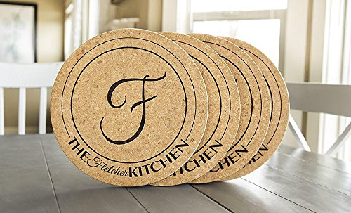 Personalized by Name Large Cork Trivets 11.5 Inch Round for Hot Pans - Mother's Day Present (Fletcher Design, Set of 4) by Qualtry