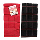 KitchenAid Dish Towel, Set of 2 (Red with Black Stripes - Black with Red Stripes)
