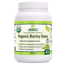 Herbal Secrets Organic Barley Grass Gluten Free, USDA Certified Organic, 16 oz 1lb - Raw, Vegan, Kosher ,Non GMO Super Food Powder.