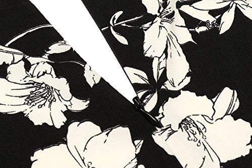 V Manches Jupe Robe Aimado Sans Sexy Noir Femme Col Floral gT1S7c