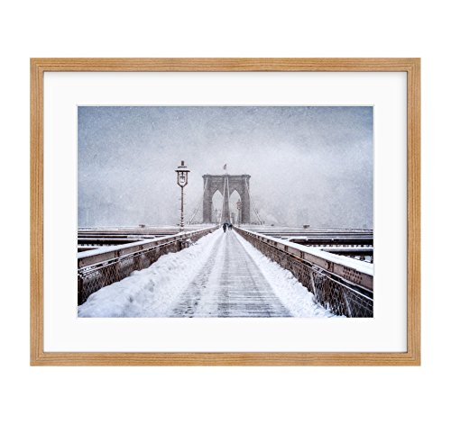 - Framed Photographic Print, New York City Wall Art, Brooklyn Bridge Winter Walkway, NYC Decor, Brooklyn Snow'