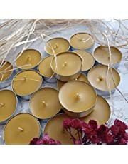 Handmade 12 Tealight Refills Beeswax Candles - 100% Pure Beeswax, Hand-Poured, Family-Run and Made in Canada