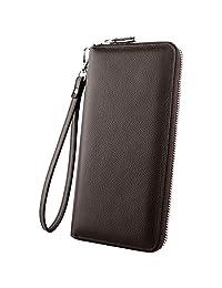 Luxspire RFID Blocking Wallet Long Handbag Large Capacity Genuine Leather Purse Clutches Bifold Multi Card Holder Organizer Phone Bag for Men Women, Coffee
