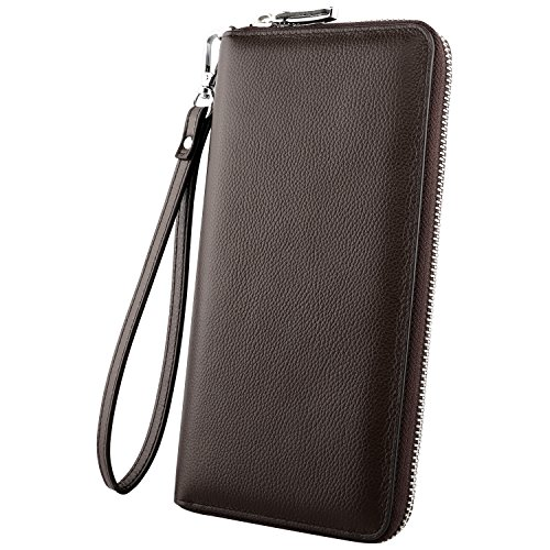 Luxspire RFID Blocking Wallet Long Handbag Large Capacity Genuine Leather Purse Clutches Bifold Multi Card Holder Organizer Phone Bag for Men Women, Coffee (Cow Leather Cell Phone)
