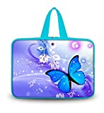 OHS17-020 New Fashion Arts Design Blue butterfly 16''/ 16.5''/ 17'' / 17.3''/17.4'' inch Netbook Tablet Laptop soft Neoprene Sleeve bag Case Carrying cover pouch Holder Protection with Outside Handle for 17'' Apple Macbook Pro / SONY VAIO E17 / 17.3'' HP ZBook 1