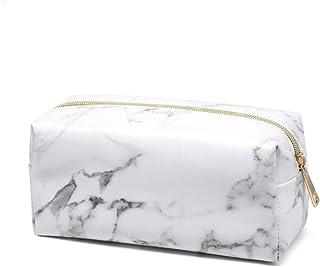 Trousse à Maquillage Sac cosmétique en PU Rangement Organisateur Portable Outils Sacs Grande Capacité Pochette Portative De Voyage imperméable et Solide Durable marbre Blanc (Carré)