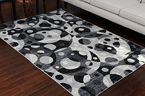 Generations Collection 100% Olefin Brand New Contemporary Grey Silver White Modern Circles Area Olefin Rug Rugs 8056Silver 2'2 x 3 Door Mat For Sale