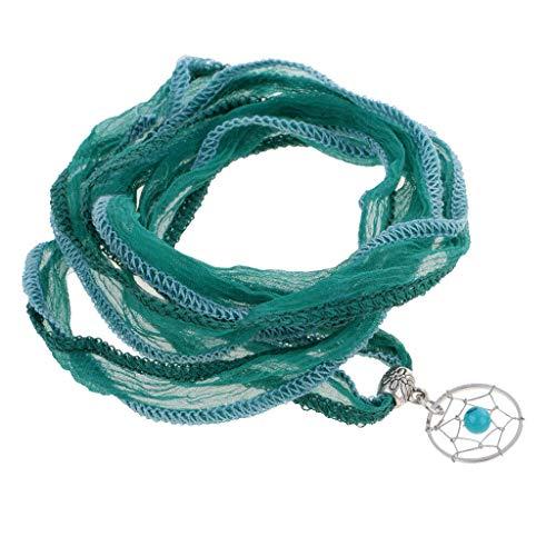 Women Jewelry Fashion Dreamcatcher Silk Ribbon Hand Chain Bracelet Green