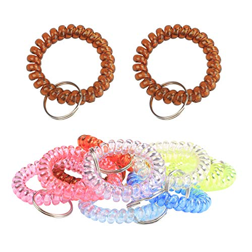 (BIHRTC Pack of 5 Colorful Spring Spiral Coil Keychain Coil Bracelets Stretchy Keychain Key Chain Bracelet Wrist Coil Key Chain Wrist Band Key Ring Wrist Key Holder Keychain Wrist Random Color)