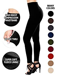 Fleece Lined Leggings High Waist Compression Slimming Warm - Many Colors