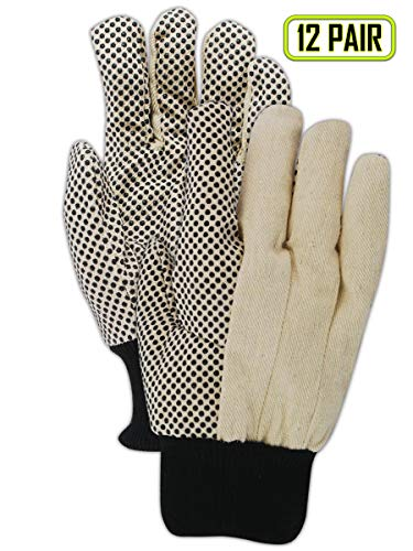 Magid Safety MultiMaster T30P Gloves | 8 oz. PVC Dotted Cotton/Polyester Blend Gloves - Knit Wrist Cuff, Large, Tan/Black (12 Pairs)
