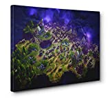 OneCanvas Battle Royale FORTNITE MAP Gallery Wrapped Canvas Print (24x36in.)