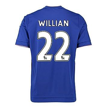 2016 England Premier League Chelsea FC 22 Willian Home Jersey de fútbol en azul Azul azul