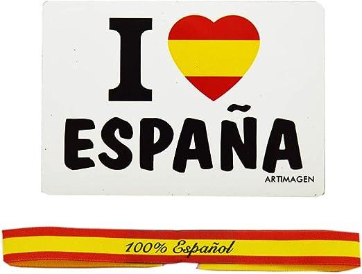 ALBERO Pack 100% Español Imán 8.5 x 6 cm y Pulsera de Tela con los Colores de la Bandera de España 29 x 1.5 cm: Amazon.es: Hogar