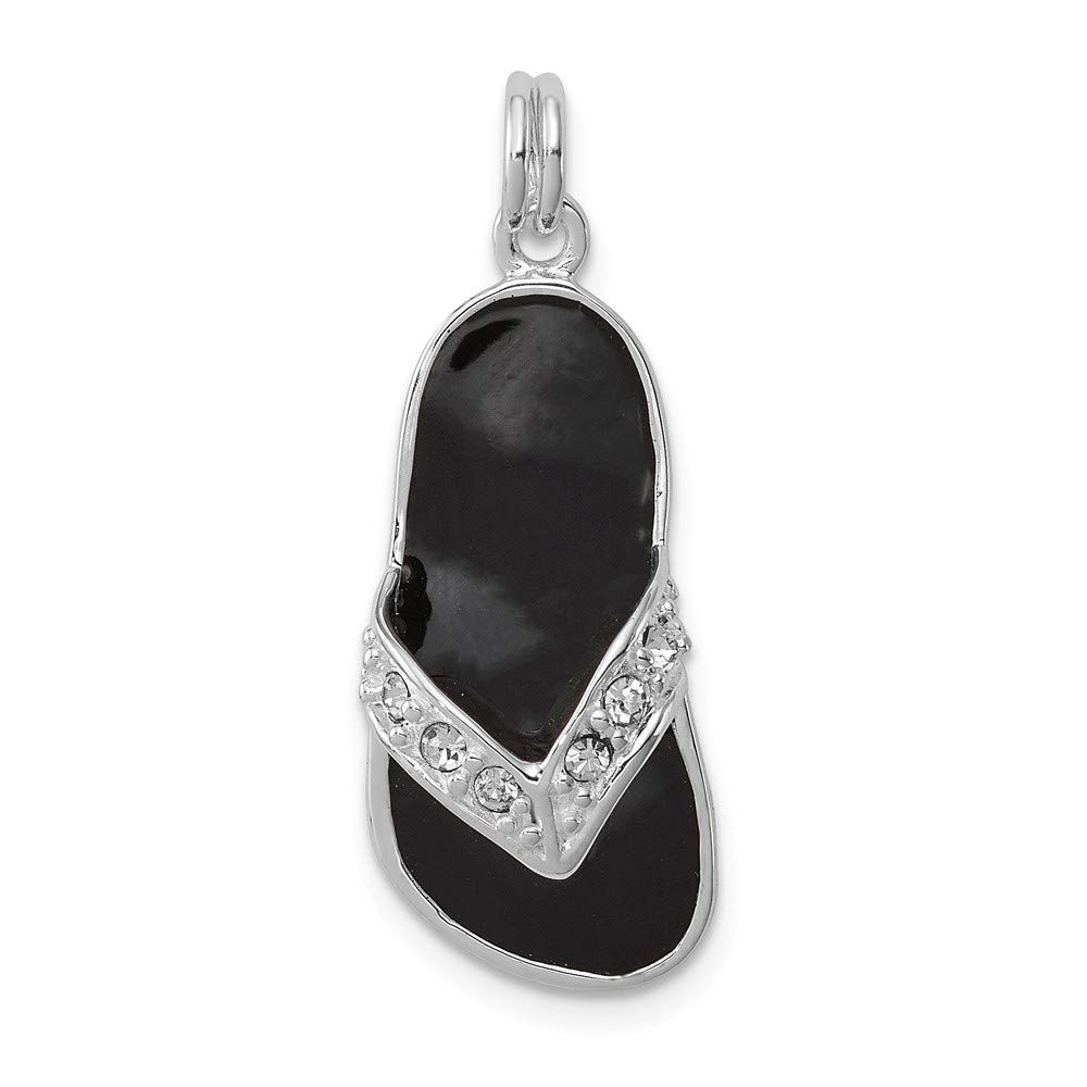 Jewel Tie 925 Sterling Silver Black Enameled CZ Cubic Zirconia Flip Flop Pendant Charm 10mm x 23mm
