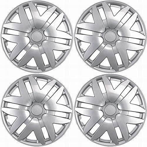 OxGord 15 inch Hubcaps Best for - Toyota Camry - (Set of 4) Wheel Covers 15in Hub Caps Silver Rim Cover - Car Accessories for 15 inch Wheels - Snap On Hubcap, Auto Tire Replacement Exterior Cap