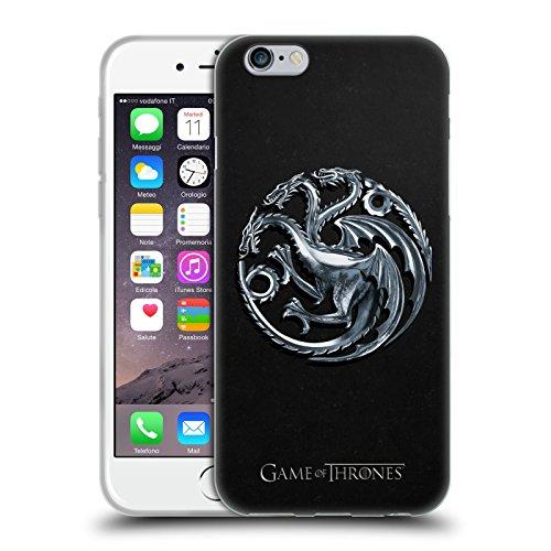 Officiel HBO Game Of Thrones Silver Targaryen Symboles Étui Coque en Gel molle pour Apple iPhone 6 / 6s