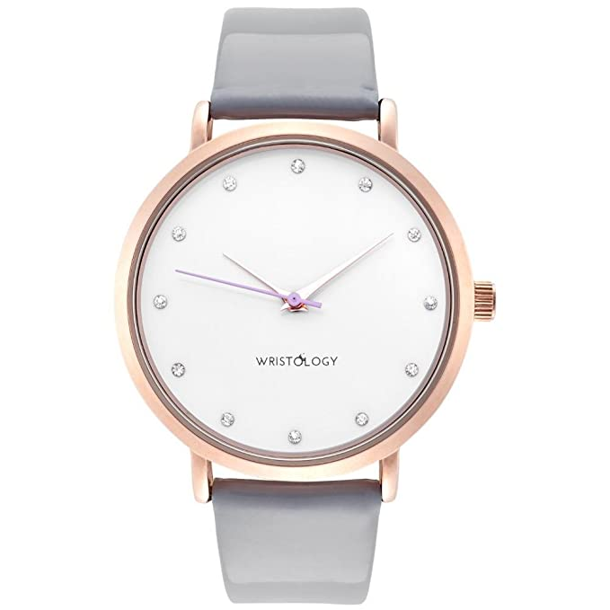 WRISTOLOGY Olivia - 5 Options - Womens Watch Crystal Rose Gold Boyfriend Ladies Grey Patent Leather Strap Band