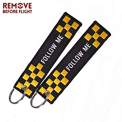 Amazon.com: Key Rings Follow ME Key Ring Black Embroidery ...