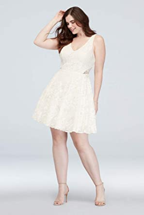 David\'s Bridal Embroidered A-Line Plus Size Dress with Cutout Style ...