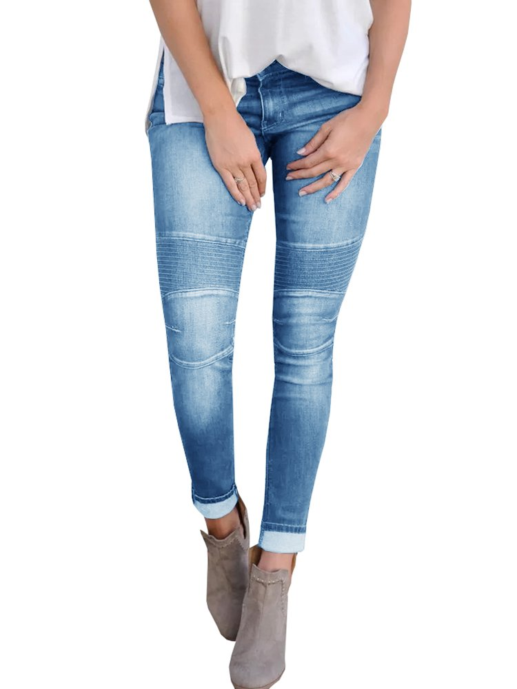 Misassy Womens Juniors Moto Biker Jeans Mid Waisted Skinny Distressed Stretch Denim Pants by