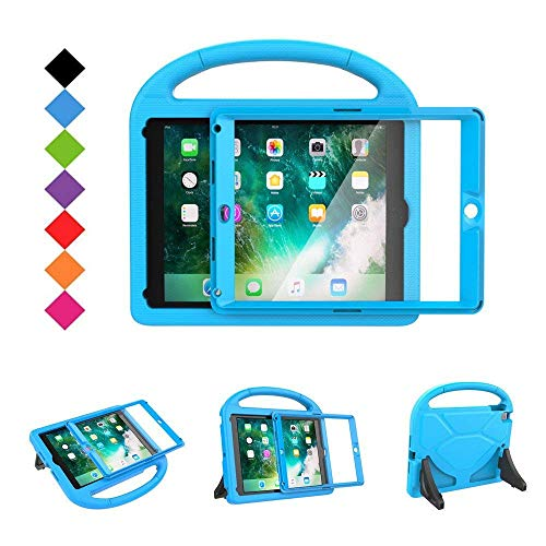 BMOUO Kids Case for New iPad 9.7 2018/2017 - Built-in Screen Protector Shockproof Light weight Handle Convertible Stand Case Cover for Apple iPad 9.7 Inch 2018 (6th Generation) / 2017 (5th Gen) - Blue