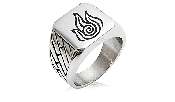 Tioneer Stainless Steel Avatar Fire Element Geometric Pattern Biker Style Polished Ring