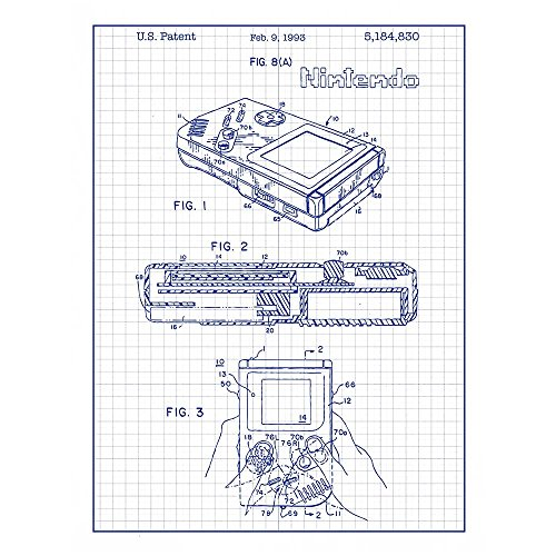 Inked and Screened SP_VIDG_5,184,830_WG_24_A Nintendo Game Boy Design Patent Art Poster Silk Screen Print, White, 18