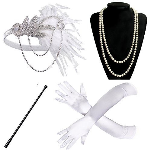 BABEYOND 1920s Flapper Accessories Roaring 20s Gatsby Costume Accessories Set (Set-16)