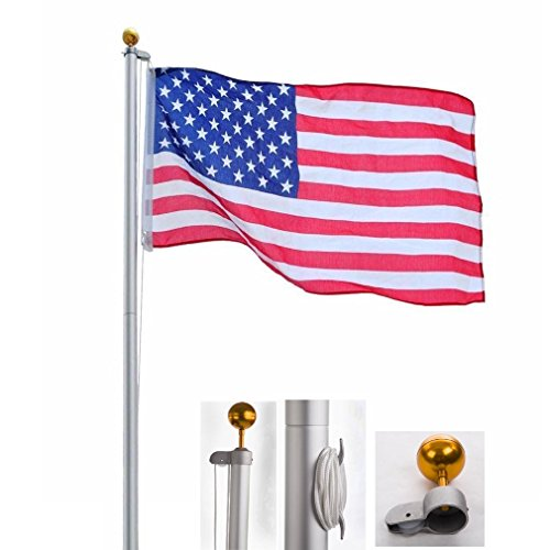 25Feet Telescopic Aluminum Flag Pole 3'x5' US Flag and Ball Top Kit Telescoping Flagpole Fly 2 Flags