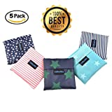 """Folding Reusable Grocery Bags 5 Pack - 21.6""""x13.8"""" Capacity – Washable, Waterproof Nylon holds Heavy Groceries – Foldable Tote Bag is 4.3""""x 4.3"""" Folded – Eco-Friendly Shopping Bag fits in Pocket"""