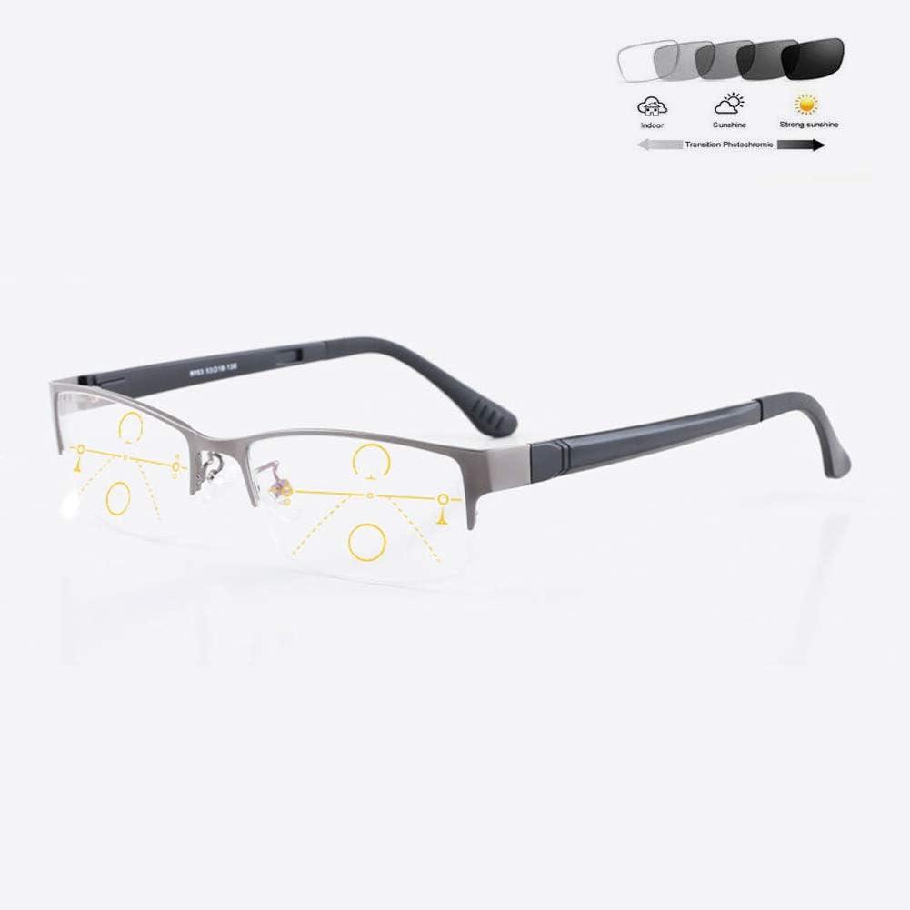 HAOXUAN El Nuevo Tipo De Gafas De Lectura Gafas De Sol Que Cambian De Color De Zoom Inteligente De Los Hombres, Progresiva Multi-Punto Anti-Ultravioleta UV400 Lentes De Dioptrías 1,0-3,0,Gris,+1.5
