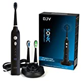OJV Easy Clean Waterproof Rechargeable Low Noise Sonic Toothbrush,sonicare Electric Toothbrush with Wireless Charger & 3 Brush Heads-Black