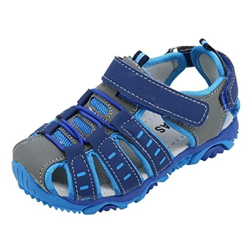 (Sunbona Kids Baby Boys Girls Closed Toe Beach Sandals Anti-Slip Summer Toddler Sport Sneaker Shoes (US:8, Blue))