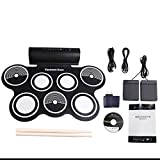 Aliyes Portable Electronic Drum Kit, Digital Foldable Roll-Up Drum 7 Practice Pads with Instruments Built in Speaker Headphone USB MIDI Jack with Drum Sticks, Foot Pedals for Practice Starters Kids