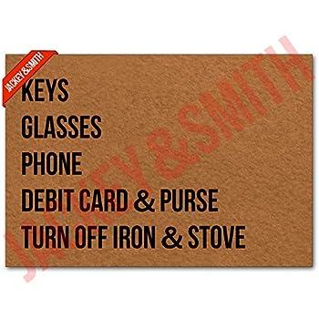 Jackey&Smith Welcome Mat | Keys Glasses Phone Debit Card & Purse Turn Off Iron & Stove Door Mat for Front Door | Entryway Outdoor Floor Mat | Non Slip Doormat 23.6-Inch by 15.7-Inch