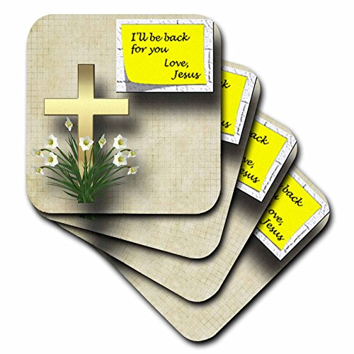 Cross Tile Coaster (3dRose Pretty Cross and Spring Flowers and Note from Jesus That He Will Be Back a Great Gift - Ceramic Tile Coasters, Set of 4 (cst_128832_3))