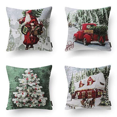 Phantoscope Set of 4 New Merry Christmas Modern Santa Clause Throw Pillow Case Cushion Cover 18