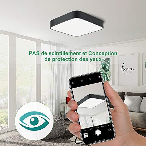 Plafonnier LED 24W, 1800lumen 4000K blanc naturel, 220V 16LEDs, plafonnier led utilitaire carré noir pour salle de bain salon garage couloir armoire sous-sol bureau d'escalier
