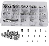 HanTof 340Pcs Metric M2.5/M3/M4/M5/M6/M8 304 Stainless Steel Allen Head Socket Hex Grub Screw Set Assortment Kit with 6 Hex Wrenches,Internal Hex Drive Cup-Point