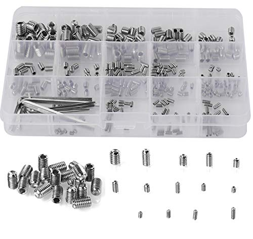 HanTof 340Pcs Metric M2.5/M3/M4/M5/M6/M8 304 Stainless Steel Allen Head Socket Hex Grub Screw Set Assortment Kit with 6 Hex Wrenches,Internal Hex Drive (Allen Bolt Sizes)