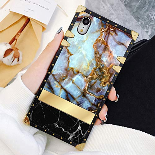 Square Case Compatible iPhone XR Marble Stone Textures Gold Stripe Luxury Elegant Soft TPU Shockproof Protective Metal Decoration Corner Back Cover Case iPhone XR Case 6.1 Inch